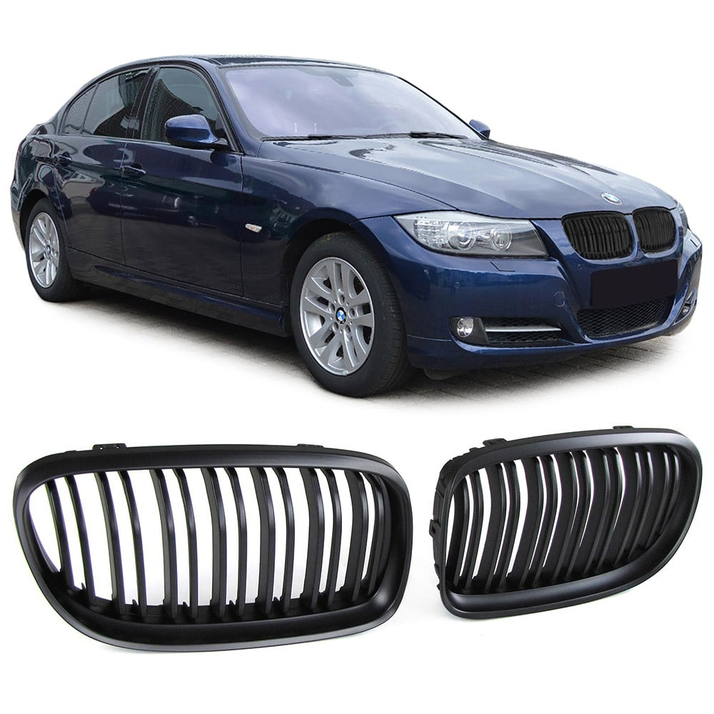 BMW E90 nyrer sort/krom