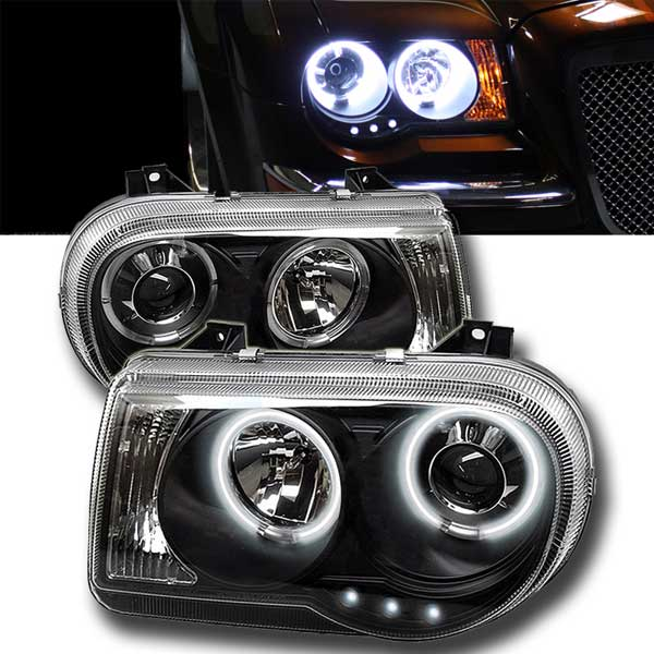 Angel Eyes lyskastere svart Chrysler 300C