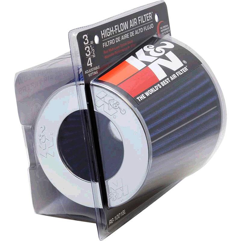 K&N dubbelkonat universalfilter - Blå med kromtopp