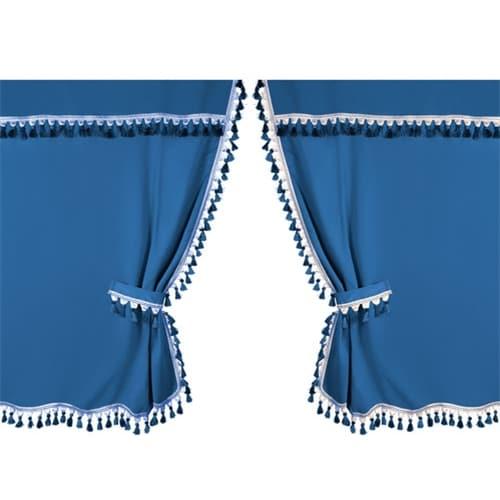 Blå gardin for Sovehytten