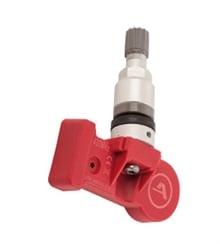 Metall ventil med röd plast