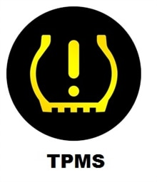 TPMS symbol, Varningslampa i bil